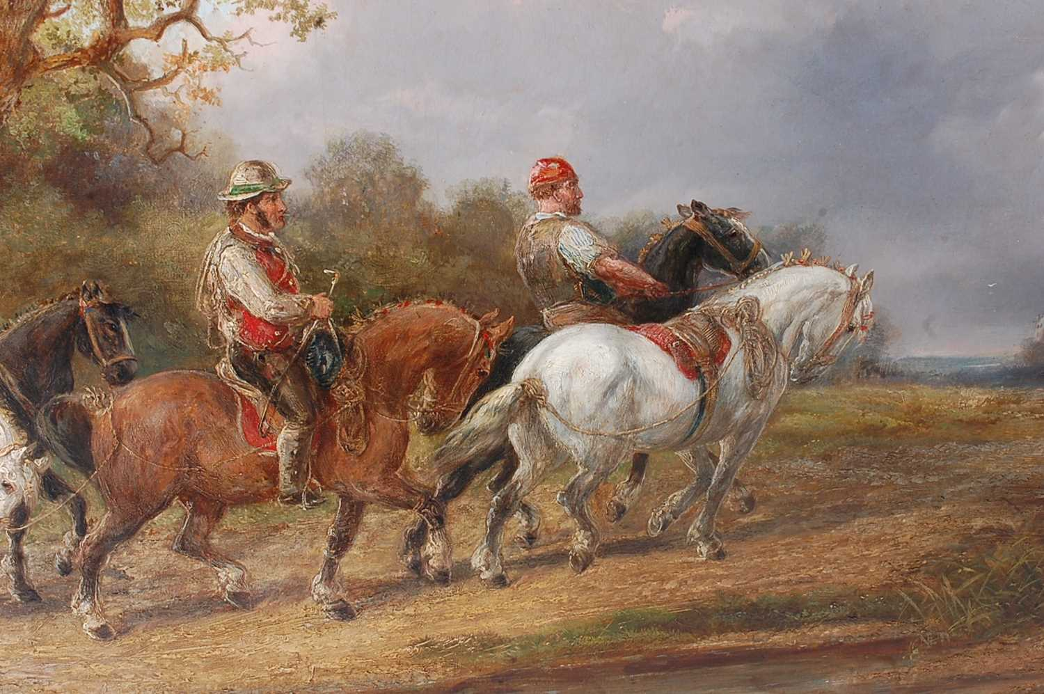 Alexis de Leeuw (Belgian c1822-1900) - Travellers with a string of horses in a landscape, oil on - Image 5 of 7