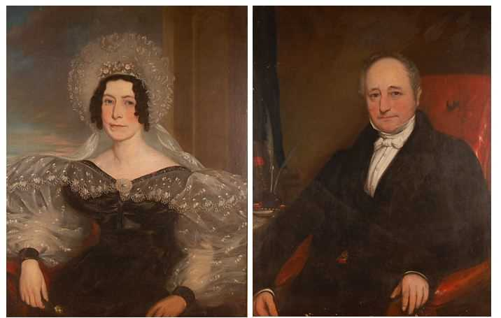 19th century English school - Pair; Half-length portraits of a lady and gentleman, each in seated