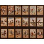 F. Villetti (Italian 19th century) - a set of eighteen humorous watercolours on card, each with gilt