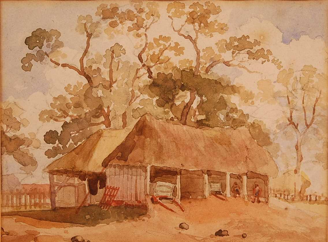 Thomas Churchyard (1798-1865) - Barn at Bredfield, watercolour, 14 x 19cm Provenance; From the