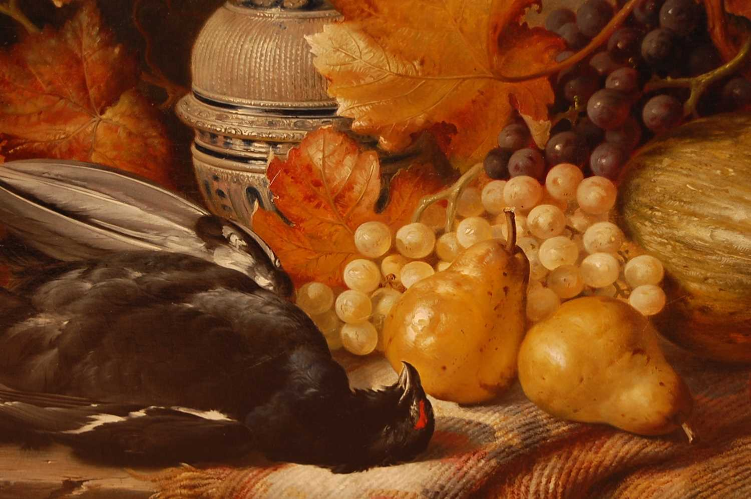 William Duffield (1816-1863) - Still life with dead game, fruit and a stoneware bellarmine, oil on - Image 4 of 5