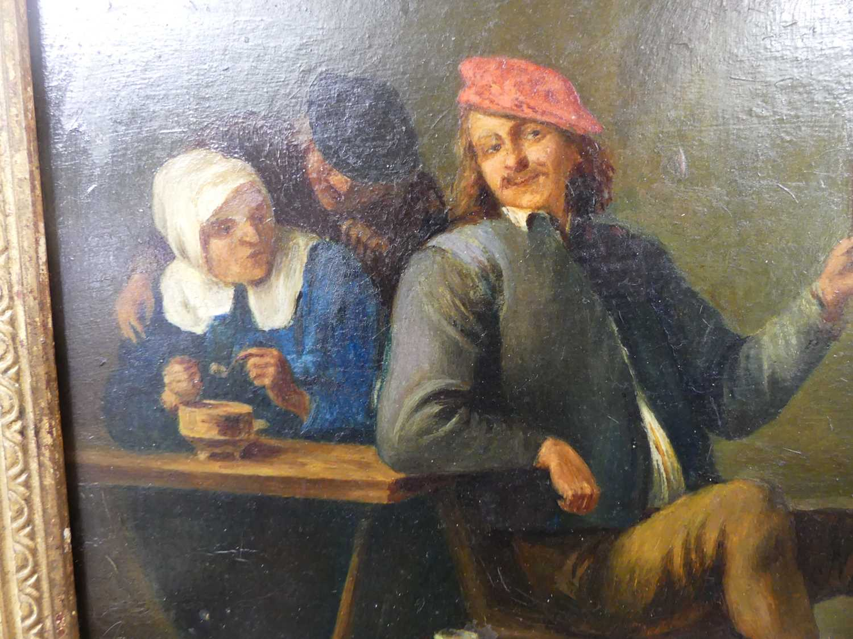Follower of David Teniers the younger (1610-1690) - Interior tavern scene, oil on artist board, 23 x - Image 4 of 8