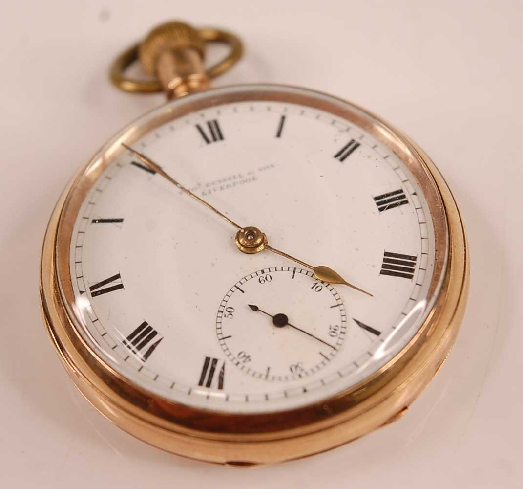 An Edwardian gent's 9ct gold cased open faced pocket watch by Thomas Russell & Son of Liverpool,