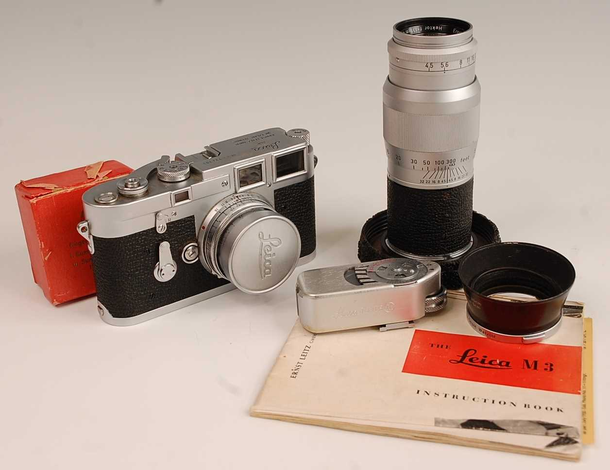 A Leica M3 35mm Rangefinder camera, serial number M3-732262, with F=5cm 1:2 lens numbered 1254728,