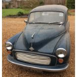 A 1967 Morris Minor Saloon Registration No. LOE 473F Chassis No. A2S51195835 In blue. Odometer 40070