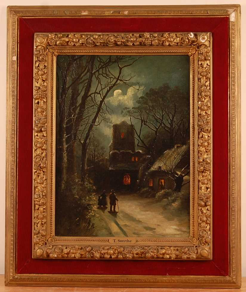 Thomas Smythe (1825-1906) - Figures in a moonlit winter landscape, oil on canvas, indistinctly - Image 2 of 4