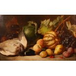 William Duffield (1816-1863) - Still life with dead duck, fruit and a majolica jug, oil on canvas,