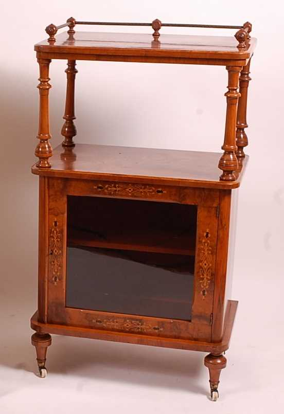 A Victorian figured walnut and marquetry inlaid music cabinet, having brass three-quarter gallery