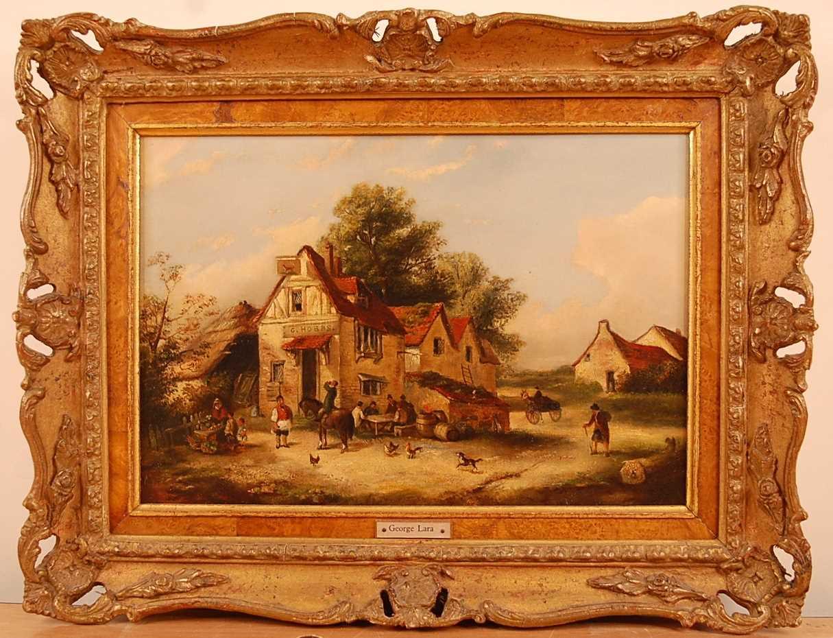 George (Georgina/Edwina) Lara (act.1860s) - Figures outside a tavern, oil on canvas, unsigned, 22 - Image 2 of 3