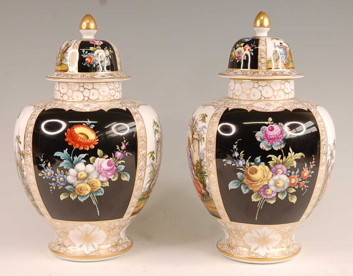 A pair of circa 1900 Dresden porcelain vases and covers, each panel decorated with alternating - Image 2 of 7