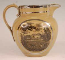 A Victorian Staffordshire silver resist lustre ware jug, with bat print reserves, h.13cm