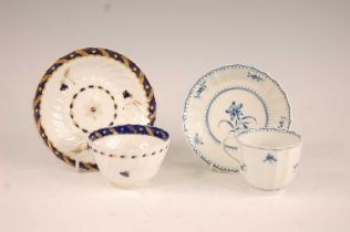 An 18th century Worcester tea bowl on stand, each being spiral fluted and with blue banded and