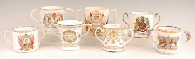 A collection of Victorian and later commemorative loving cups, to include Staffordshire, Anchor
