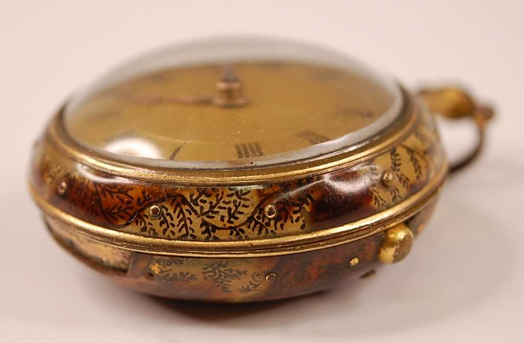A George III gent's pair-cased open faced pocket watch, the outer case being faux tortoiseshell, the - Image 2 of 7