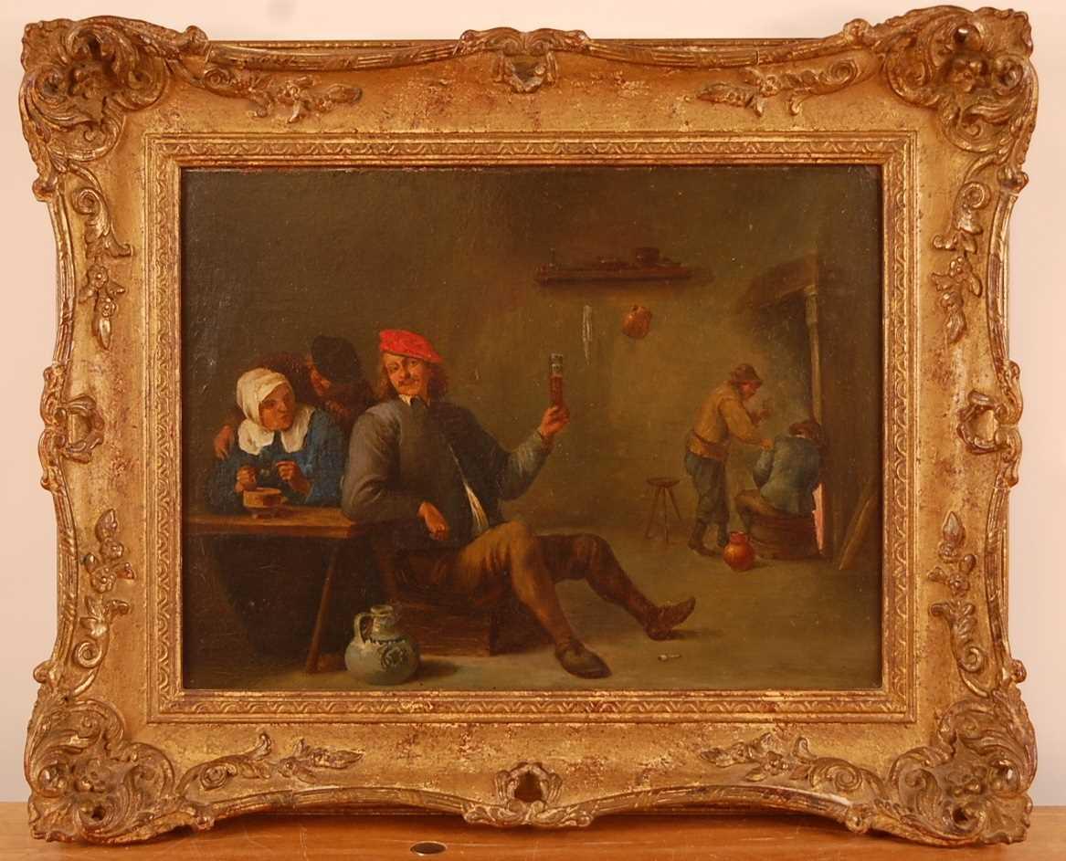 Follower of David Teniers the younger (1610-1690) - Interior tavern scene, oil on artist board, 23 x - Image 2 of 8