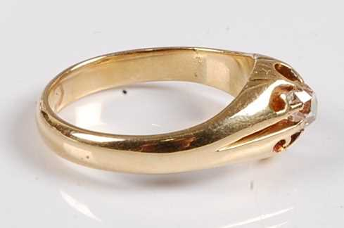 A yellow metal diamond single stone ring, featuring an Old European cut diamond in a scalloped - Image 4 of 5
