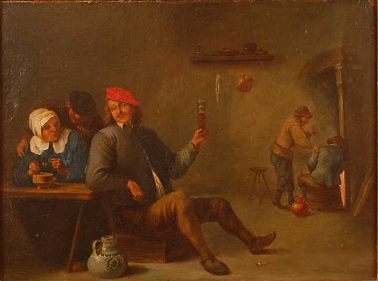 Follower of David Teniers the younger (1610-1690) - Interior tavern scene, oil on artist board, 23 x