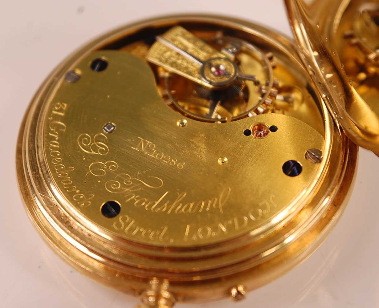 A late Victorian 18ct gold cased gent's full hunter pocket watch, having plain case, signed white - Image 5 of 5