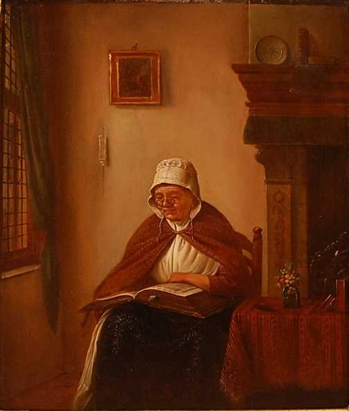 Early 19th century school - Interior scene with middle-aged woman reading, oil on oak panel, 31 x