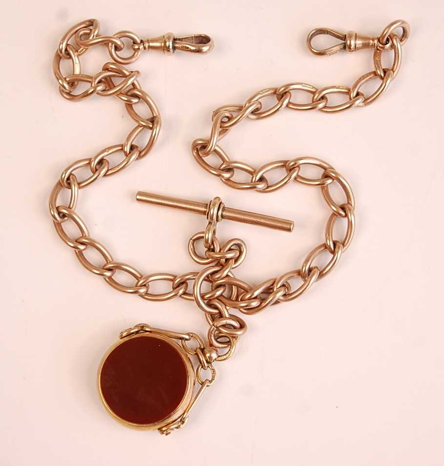 A 9ct gold oval curblink watch chain, having T bar and 9ct gold mounted agate and bloodstone - Image 2 of 2