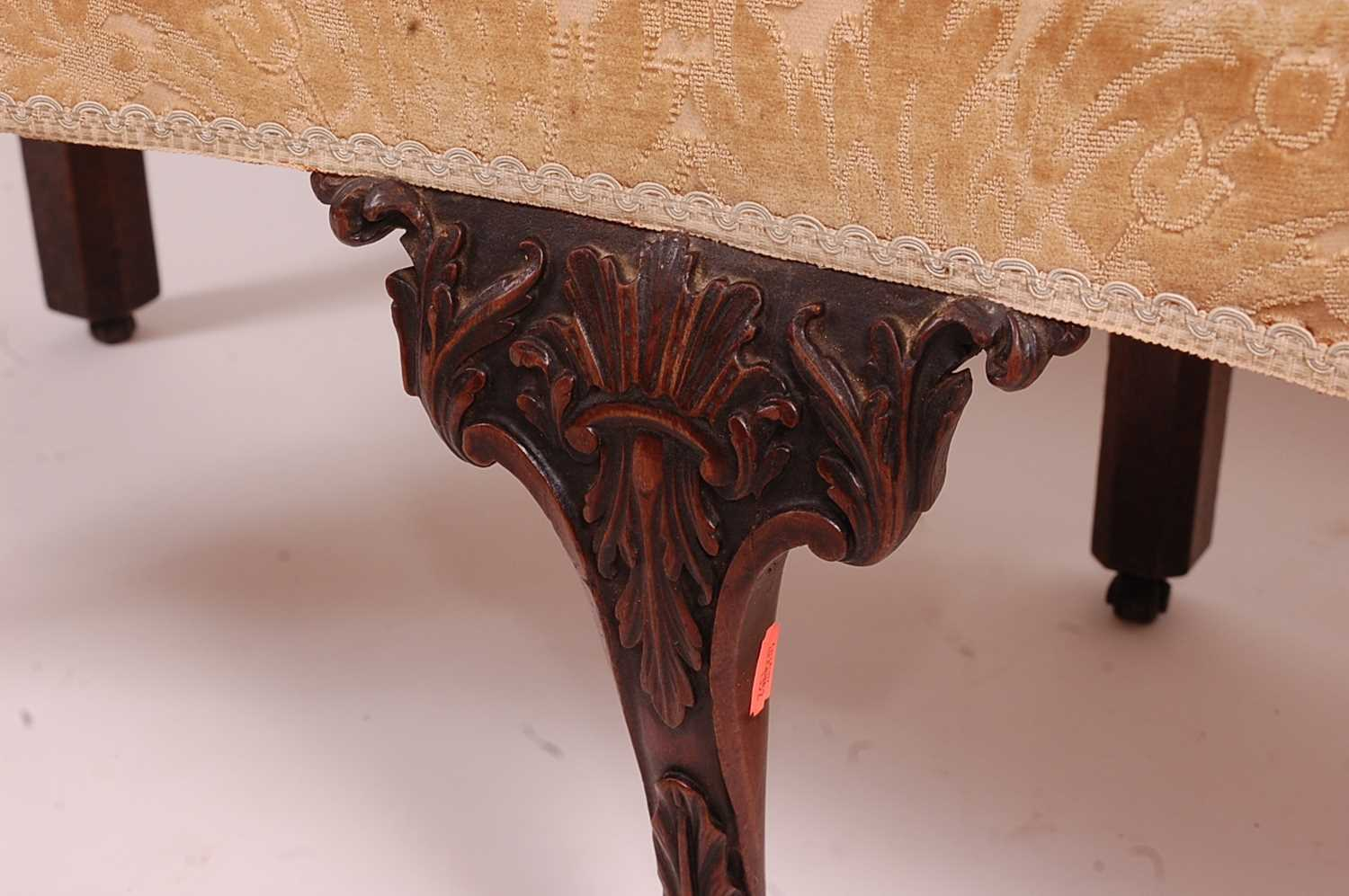A George III mahogany framed window seat, of serpentine outline, having an upholstered top with - Image 4 of 18