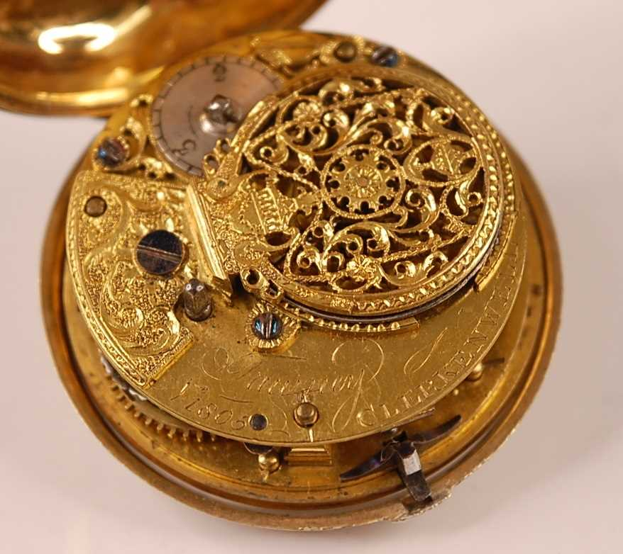 A George III gent's pair-cased open faced pocket watch, the outer case being faux tortoiseshell, the - Image 5 of 7