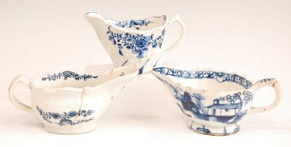 A Lowestoft porcelain cream boat, having a moulded body, underglaze blue decorated with floral