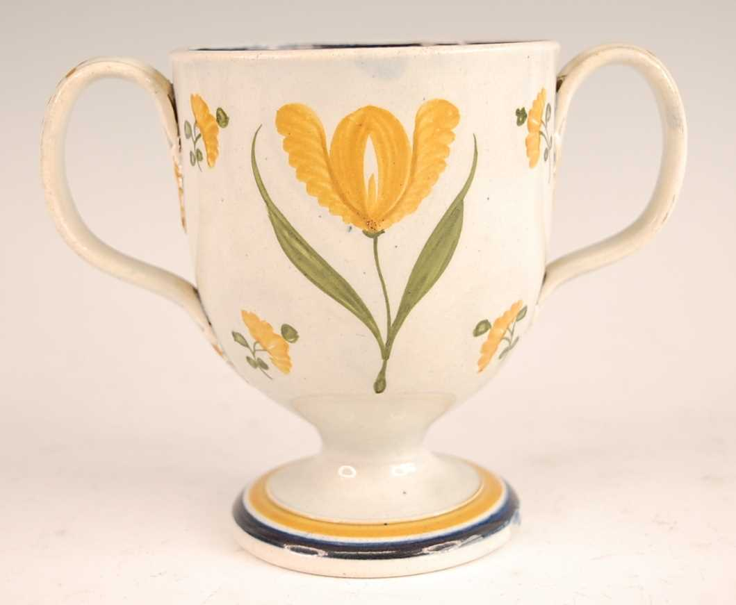 A George III pearlware pedestal loving cup, the bell shaped bowl inscribed William Smith and dated - Image 2 of 6