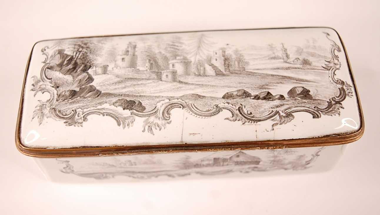 An 18th century enamel on gilt metal snuff box, probably German circa 1770, of rectangular form, - Image 2 of 6
