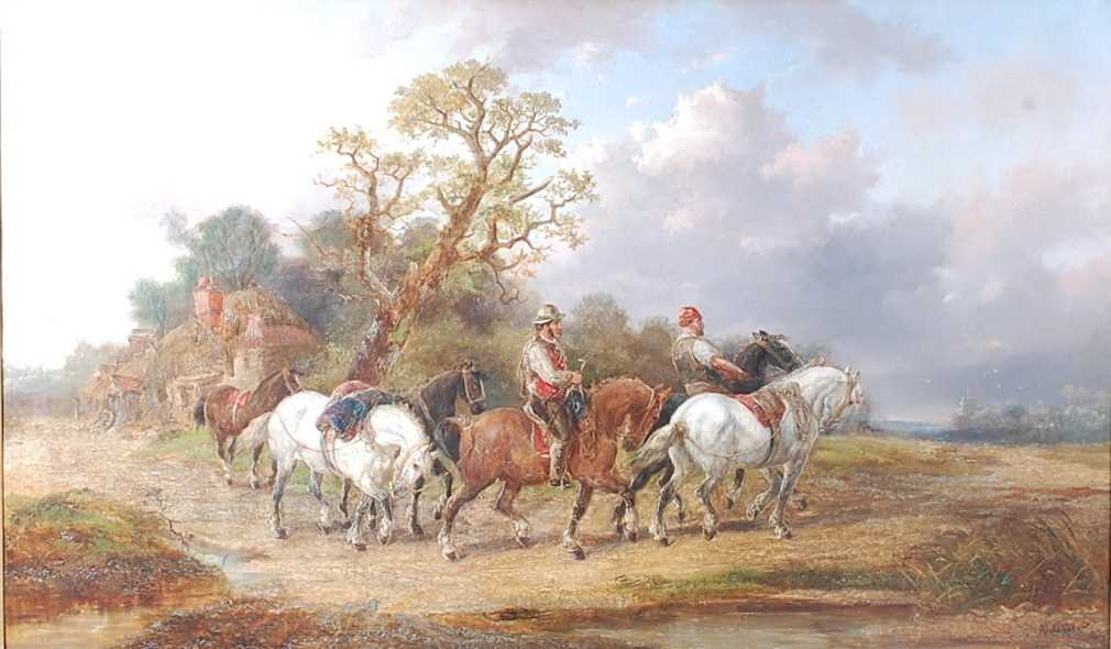 Alexis de Leeuw (Belgian c1822-1900) - Travellers with a string of horses in a landscape, oil on