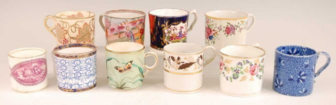 A collection of principally early 19th century English porcelain coffee cans, to include Derby and