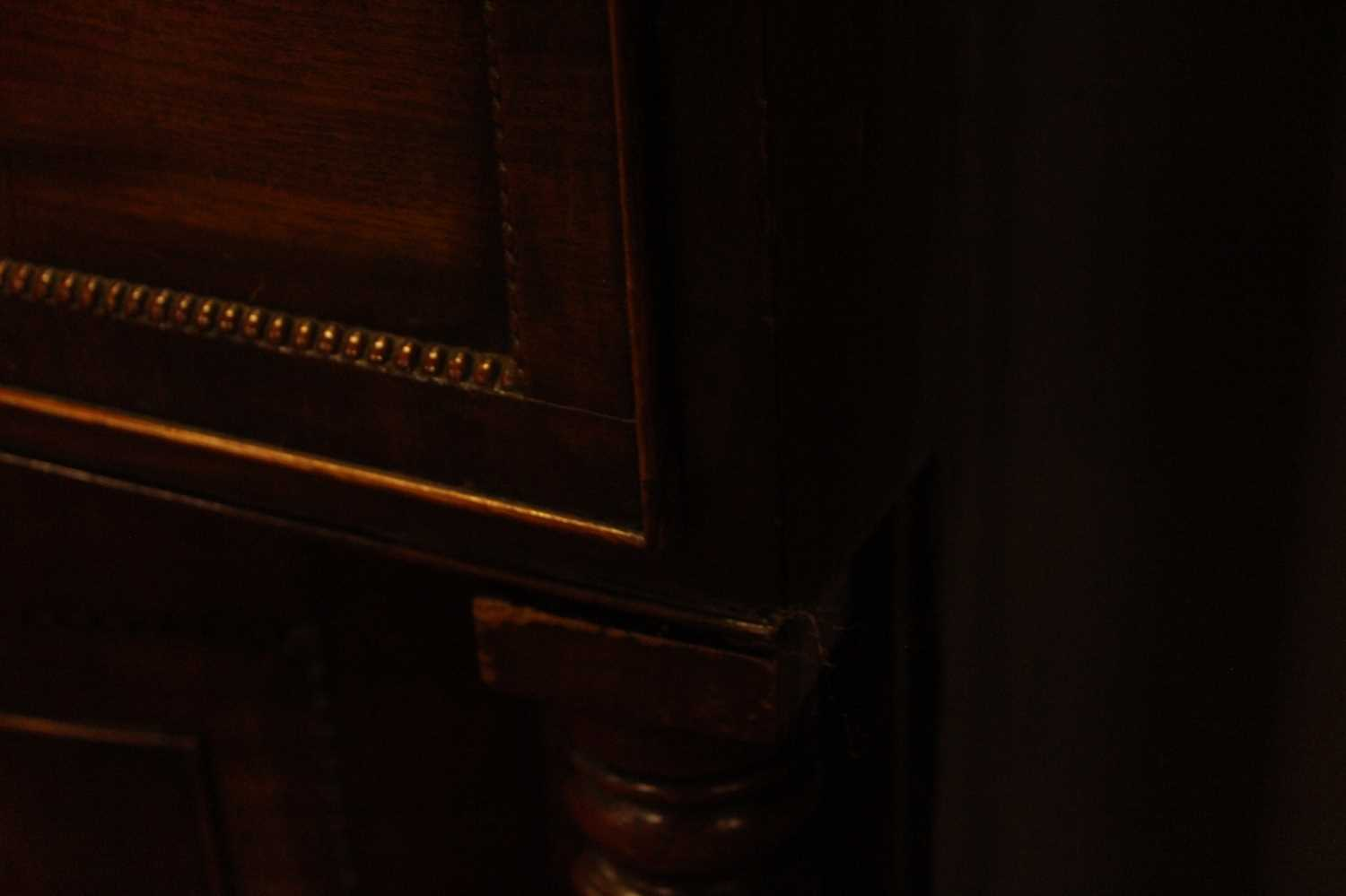 A Regency mahogany secretaire bookcase, having twin gothic arched glazed doors with enclosed - Image 7 of 12