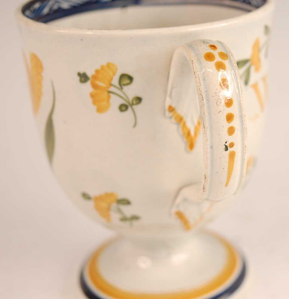 A George III pearlware pedestal loving cup, the bell shaped bowl inscribed William Smith and dated - Image 4 of 6