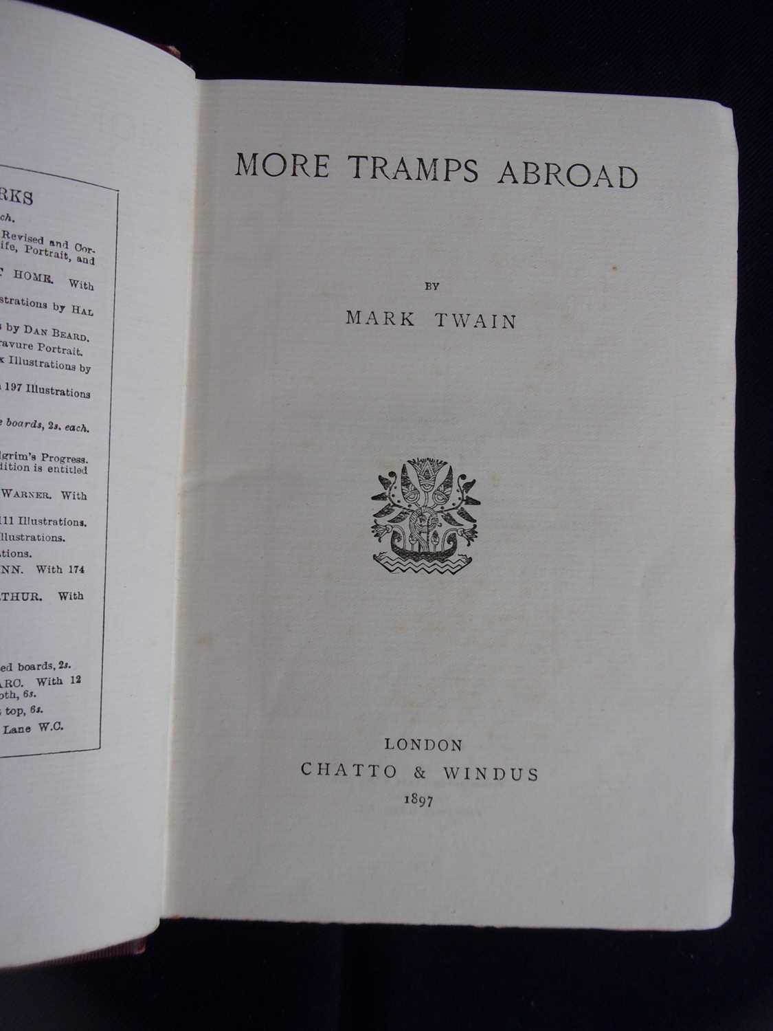 TWAIN, Mark. More Tramps Abroad. Chatto & Windus, London. 1897 UK 1st Edition. In original - Image 3 of 3