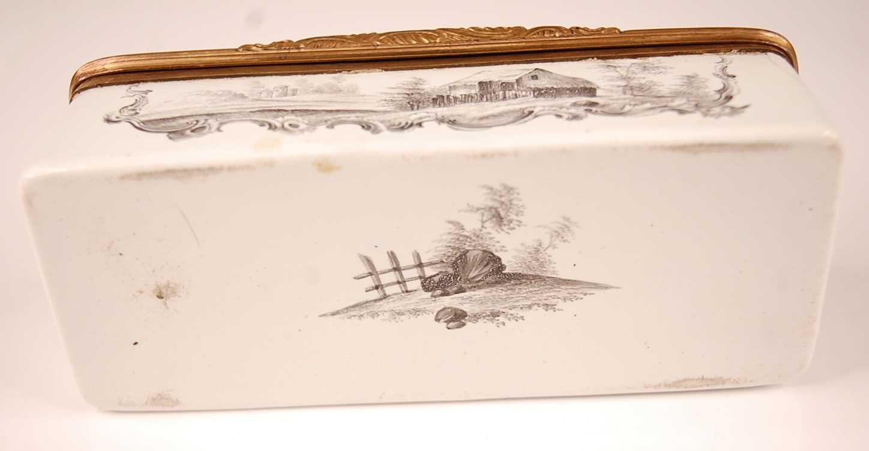 An 18th century enamel on gilt metal snuff box, probably German circa 1770, of rectangular form, - Image 6 of 6