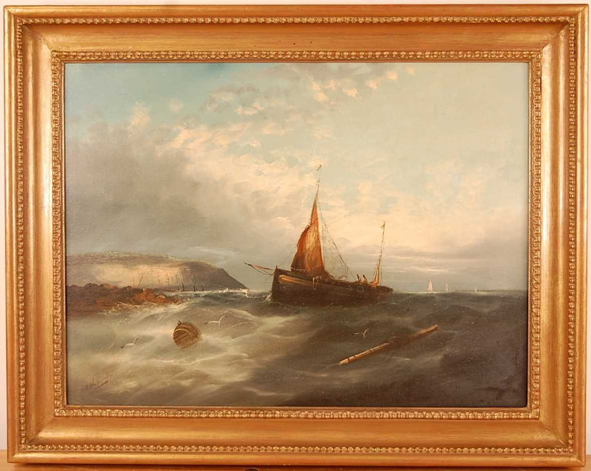 Late 19th century school - Fishing boats in trouble off the coastline, oil on canvas, indistinctly - Image 2 of 4
