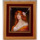 Dorval - a French Fin de siècle enamel on copper portrait miniature, as a bust of a red-headed