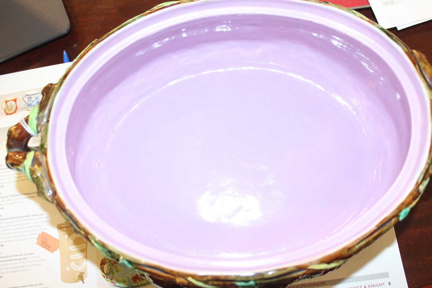 A Victorian George Jones majolica two-handled oval game pie tureen and cover, the cover decorated - Image 6 of 11