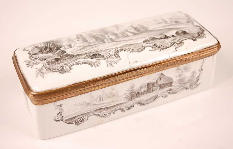 An 18th century enamel on gilt metal snuff box, probably German circa 1770, of rectangular form,