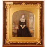 19th century English school - Three-quarter length portrait of a woman, wearing a black dress, large