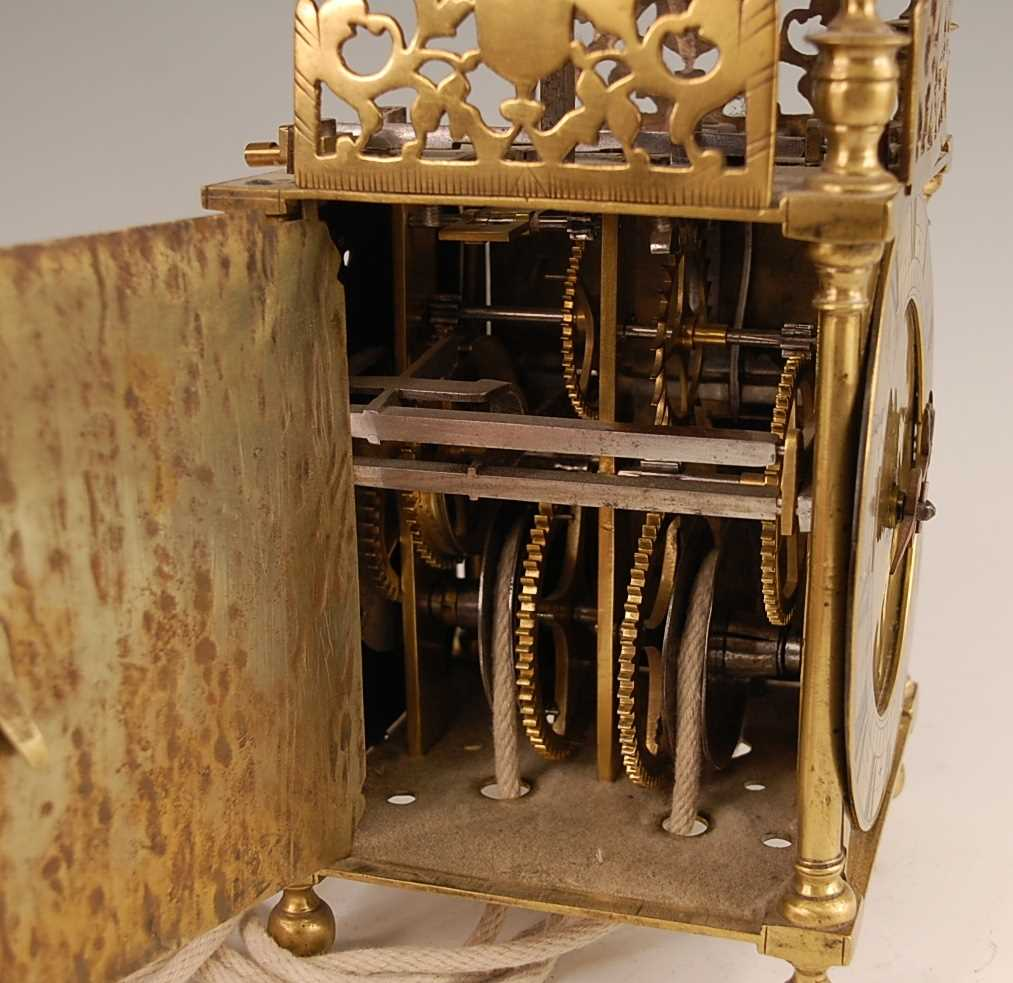 A Victorian brass lantern clock, having a fret-cut gallery over brass Roman chapter ring, single - Image 3 of 6