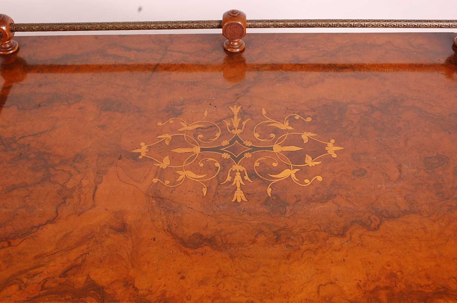 A Victorian figured walnut and marquetry inlaid music cabinet, having brass three-quarter gallery - Image 3 of 4