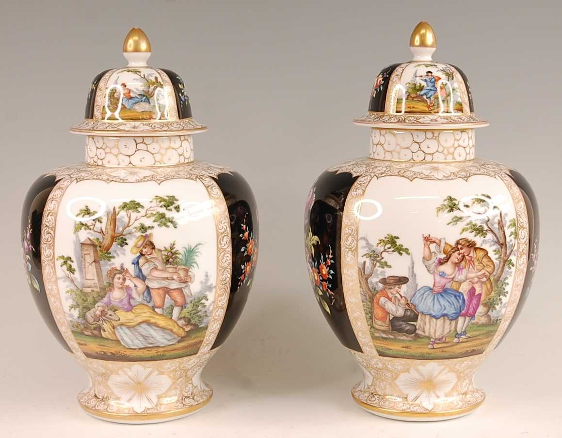 A pair of circa 1900 Dresden porcelain vases and covers, each panel decorated with alternating - Image 3 of 7