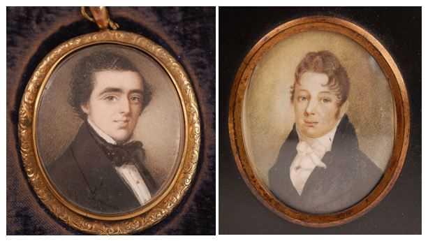 19th century English school - Bust portrait of a gentleman wearing a black tunic and silk ruff,