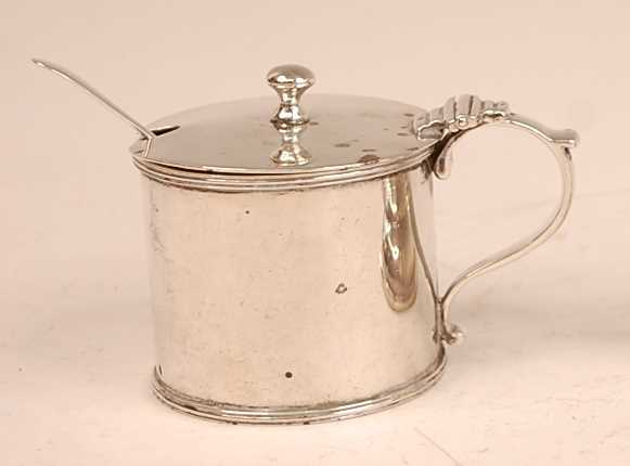 An Edwardian silver mustard pot with blue glass liner, silver weight 5.2oz, maker George Perkins, - Image 2 of 2