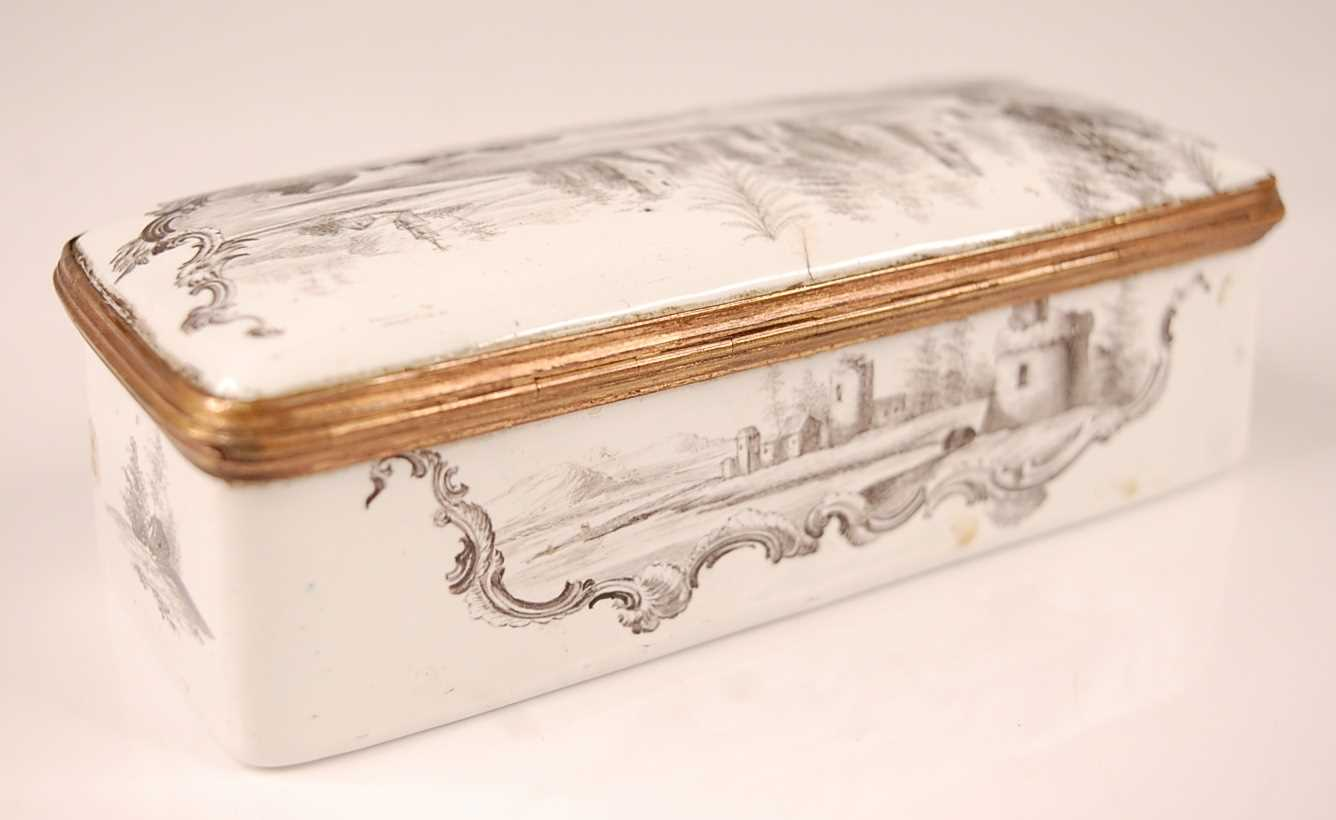 An 18th century enamel on gilt metal snuff box, probably German circa 1770, of rectangular form, - Image 4 of 6
