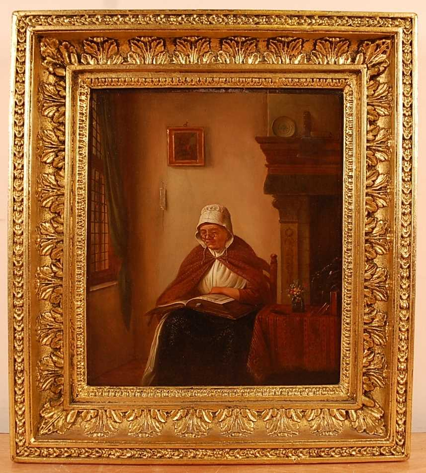 Early 19th century school - Interior scene with middle-aged woman reading, oil on oak panel, 31 x - Image 2 of 3