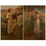 Robert Payton Reid (1859-1945) - Pair; Among the flowers, oil on canvas, each signed lower left, one