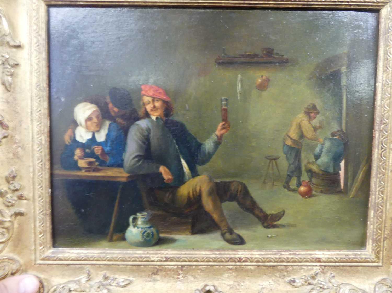 Follower of David Teniers the younger (1610-1690) - Interior tavern scene, oil on artist board, 23 x - Image 8 of 8