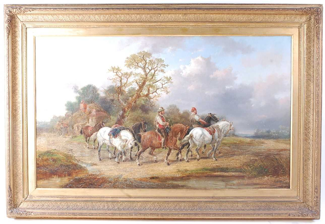 Alexis de Leeuw (Belgian c1822-1900) - Travellers with a string of horses in a landscape, oil on - Image 2 of 7